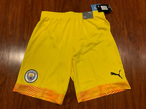 2019 Puma Mens Manchester City Yellow Player Issue Soccer Jersey Shorts Medium M