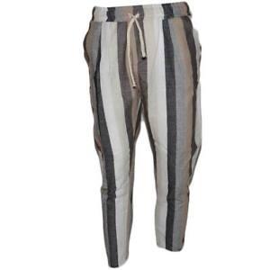 Pantaloni jogger uomo di puro lino bianchi, marroni e grigi a strisce elastico e