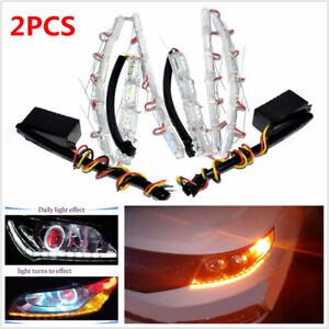 2x 12V Dual Color Tearful Eyes LED Turn Signal Daytime Running Light White Amber