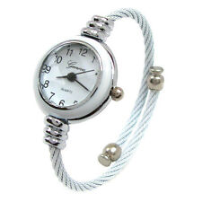 White Silver Metal Cable Band Geneva Ladies Petite Bangle Cuff WATCH
