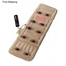 Therapeutic Massage Mat Heat Vibrating Flat Back Massager Heated Pad Shiatsu Men