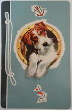 Nautical Wire Fox Terrier Dog Porthole Blue Park Ave Boxed Playing Cards 1950's