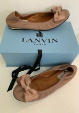 Lanvin Womens Satin Bow Leather Flats Nude Leather 9 1/2  41