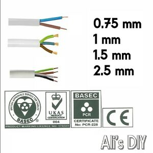 White Flex Round cable 2 3 4 Core 0.75 1 1.5 2.5mm Flexible PCV Extension Wiring