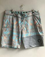 "Quiksilver Mens DAY RAVE BOY 18"" BOARDSHORT Mens Size 32 Boardies Shorts - Grey"