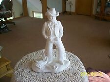 Cowboy With Saddle White Chalk Resin Material Large Vintage Marked Figurine