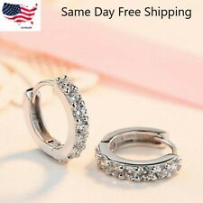 925 Sterling Silver Plated CZ Cubic Huggie Hoop Small Earrings Men Women  E21