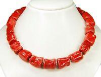 Wunderschöne Halskette roter Schaumkoralle (rot-braun) in Freiform