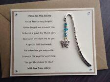 Thank You Teacher Personalised Poem Magnet Butterfly Bookmark Nursery School SVH