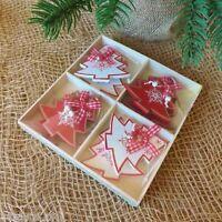 Set di 8 in Legno Rosso Bianco Decorazioni Albero Natale Cuore Renne Fiocco Neve