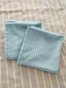 "2 Turquoise Blue Raised Stripe Zipped Cushion Covers 18"" X 18"""