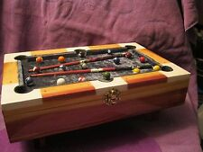 CEDAR  WOOD POOL TABLE JEWELRY BOXHUNTER GREEN TOP AND INNER LINNING