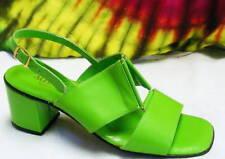 5.5 B vtg 60s green leather sandals heels pumps shoes