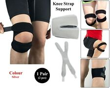 Adjustable Knie Support Brace Double Strap For Patella Pijn Neopreen Zilver Pair