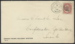 1899 Grand Trunk Railway Cover, Belleville Ont Canada Duplex, to Toronto