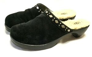 EXCELLENT WOMEN'S UGG FIONA STUDDED CLOGS Black Suede Size 8 Slip On Mules Shoes