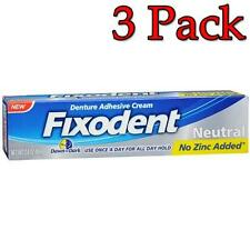 Fixodent Denture Adhesive Cream, Neutral, 2.4oz, 3 Pack 037000822356A412