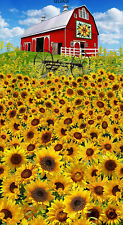 "Sunflower Farm Panel 24x44"" Cotton Quilt Fabric by Timeless Treasures Barn"