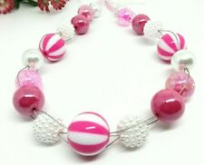 FRECHE Halskette pink rosa weiss grosse Perlen Kette Streifen Glanz   48 cm