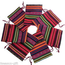50Pcs 10x14cm Multicolor Tribal Tribe Drawstring Jewelry Gift Bags Pouches