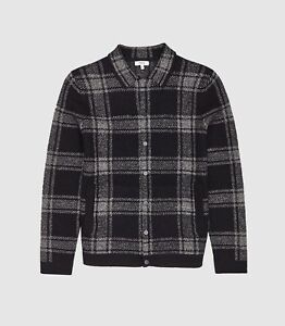 Reiss Silk Checked Overshirt In Navy Size XL