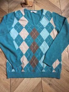 Ladies Aqua Blue Lochmere Cashmere Sweater Jumper Size 12