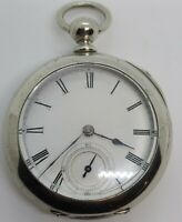 Antique Working 1881 ILLINOIS 'America' Victorian Key Wind Silver Pocket Watch