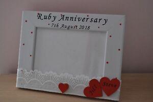 Personalised Ruby Wedding Anniversary 40 years photo frame gift