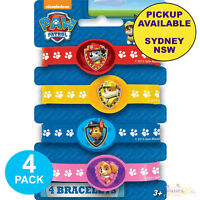PAW PATROL PARTY SUPPLIES 4 RUBBER WRISTBANDS BRACELETS BIRTHDAY LOOT FAVOURS