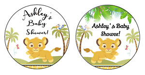 BABY SIMBA LION KING ROUND SAFARI SHOWER PARTY STICKERS FAVORS LABELS SUPPLIES