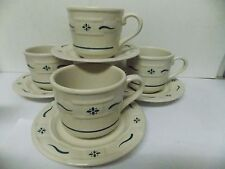 Longaberger Pottery Green Woven Traditions Cup and Saucer Sets, Set of 4 Usa