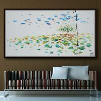 """Landscape painting 55""""  tree in the Field, calming composition, original artwork"""