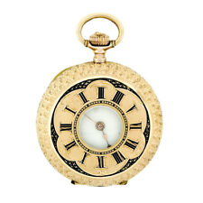 Antique Detailed 14k Rose Gold & Black Enamel Half-Hunter 11j Swiss Pocket Watch