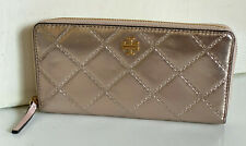 NEW! TORY BURCH GEORGIA ROSE GOLD METALLIC ZIP CONTINENTAL CLUTCH WALLET $238