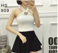 KNITTED SLEEVELESS TOP #909 (TG)  - WHITE