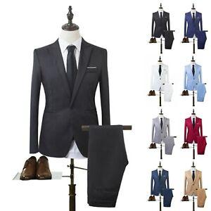 Men's Solid Suit Slim Two Piece Coat Pants Trousers Formal Wedding Groom Party