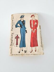 Vintage Simplicity 1920s 1930s Sewing Pattern 1348 Ladies Sunday Dress Size 38
