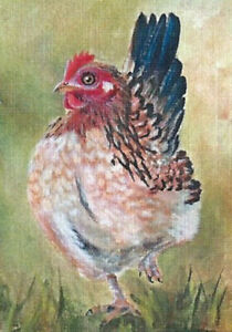 Aceo Pheobe Bantam Hen painting baseball size reproduction print