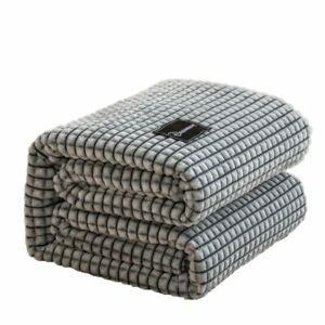 Beds Coral Fleece Blankets Gray Color Plaids Queen/King Flannel Bedspreads