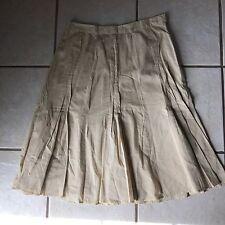 J.Jill Butter Beige Butterfly Pleat Cotton Lined  Modest Full Tulip Skirt 8 Euc