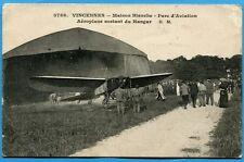 CPA: Vincennes - Maison Blanche - Parc d'Aviation - Aéroplane sortant du Hangar