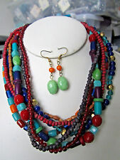 Seven Strand Multi Color Mix Bead Necklace Earring Set