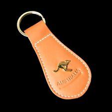 Genuine Quality Leather Key Ring Tan Gold Australia Souvenir Kangaroo Pin Badge