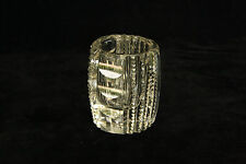 ANTIQUE CUT POLISHED GLASS VERTICAL RIB & OVAL PATTERN CRYSTAL TOOTHPICK HOLDER