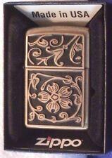 Zippo Brass Floral Flush Emblem