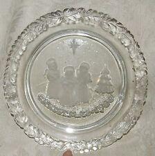 1980 Clear Crystal Christmas XMAS Plate 3 Angel Band Tree Star Holly Border