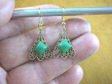 (EE-792-7) dainty filigree fan with green Aventurine brass gold dangle earrings