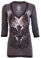 Rebel Saints AFFLICTION Womens LS T-Shirt AVA Cross Tattoo Biker Sinful S-XL $58