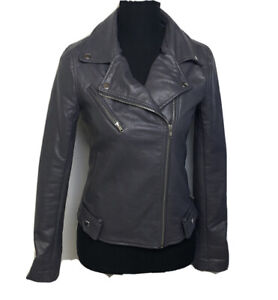 Romeo And Juliet Womens Faux Leather Moto Biker Jacket Dark Gray Size S