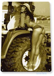 TIN SIGN Farm Girl Metal Décor Art Pin-up Cowgirl Tractor Shop Garage A795
